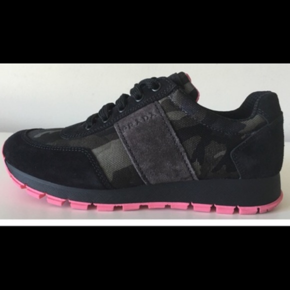 e0d01ae1 💖PRADA💖Camo Sneaker Grey/Black suede & Pink sole
